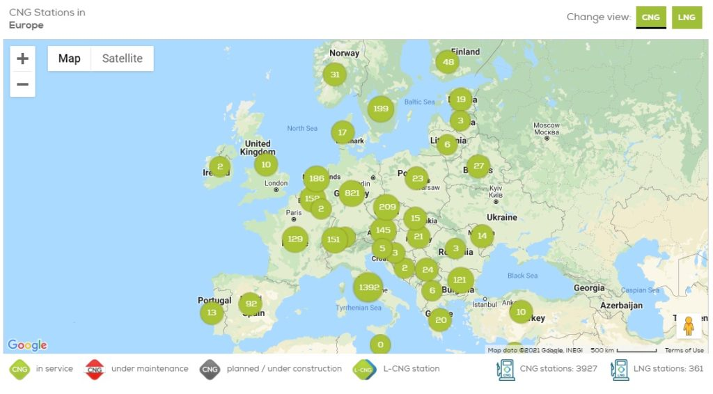 mapa stacji cng w europie